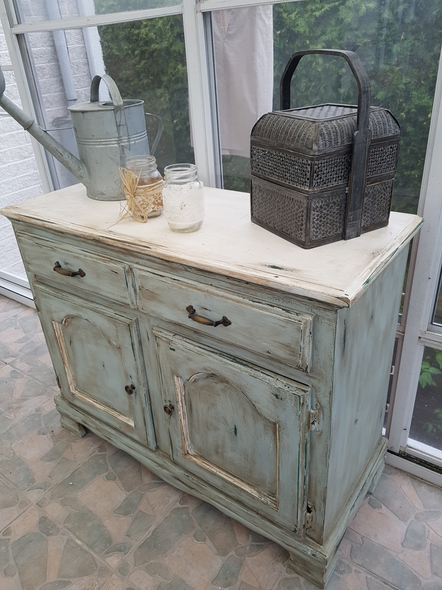 Buffet bas turquoise, blanc rustique chic4