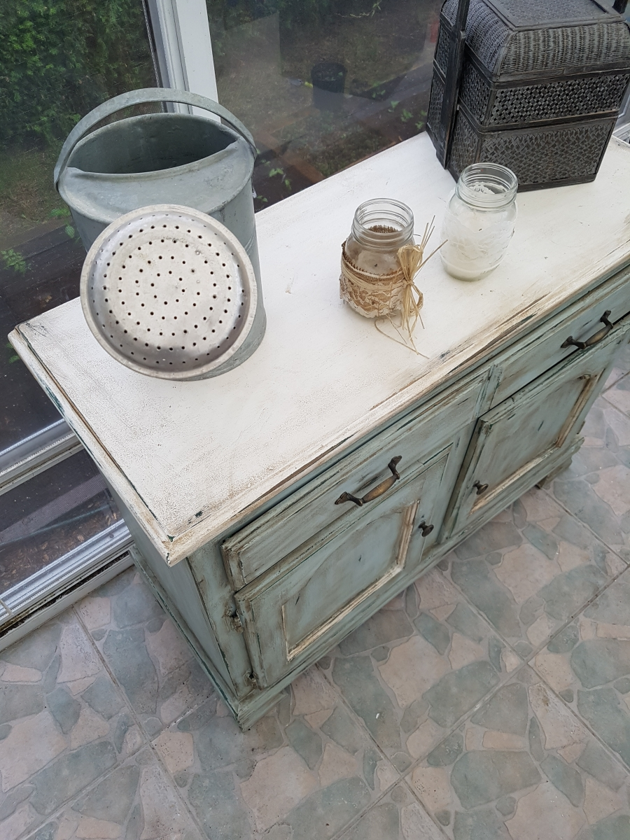 Buffet bas turquoise, blanc rustique chic3