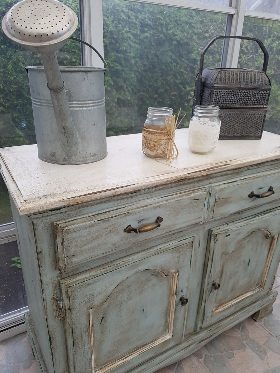 Buffet bas turquoise, blanc rustique chic2