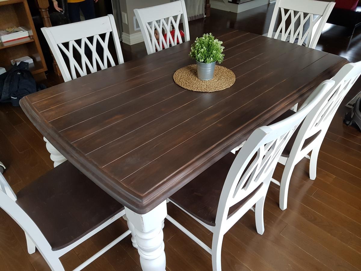 Table crème, blanc cassé dessus foncé, sans rallonge bois shabby rustique chic2