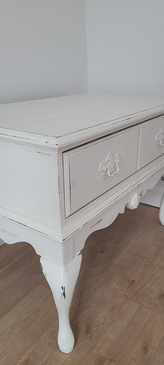 Table de salon shabby chic blanc, tiroir
