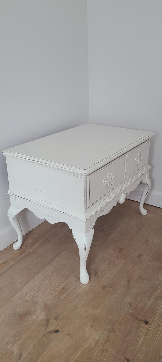 Table de salon shabby chic blanc, tiroir2