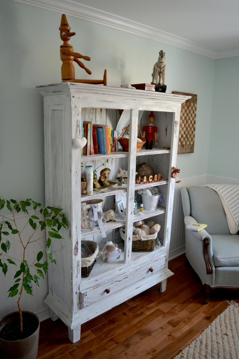 Shabby Chic Armoire shelf cabinet, shabby chic library