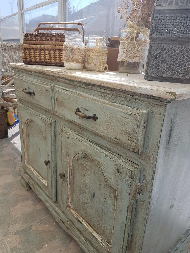 Buffet bas turquoise, blanc rustique chic6