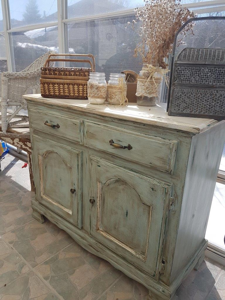 Buffet bas turquoise, blanc rustique chic5