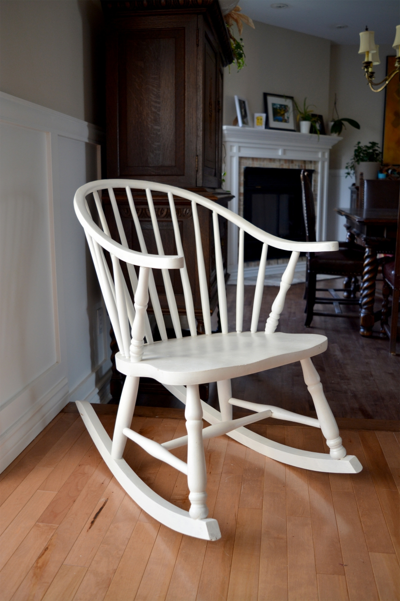 Windsor rocking chair white - Chaise en paille blanche ...