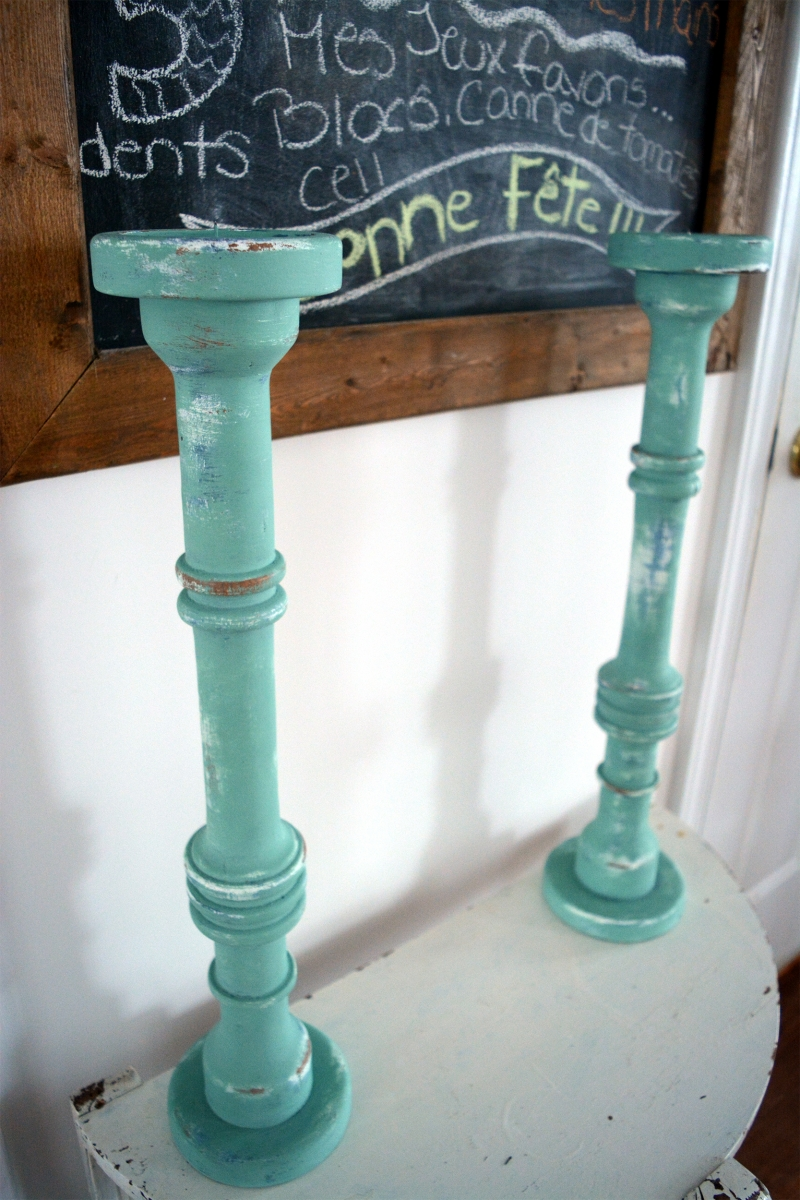 Chandeliers bois shabby chic turquoises
