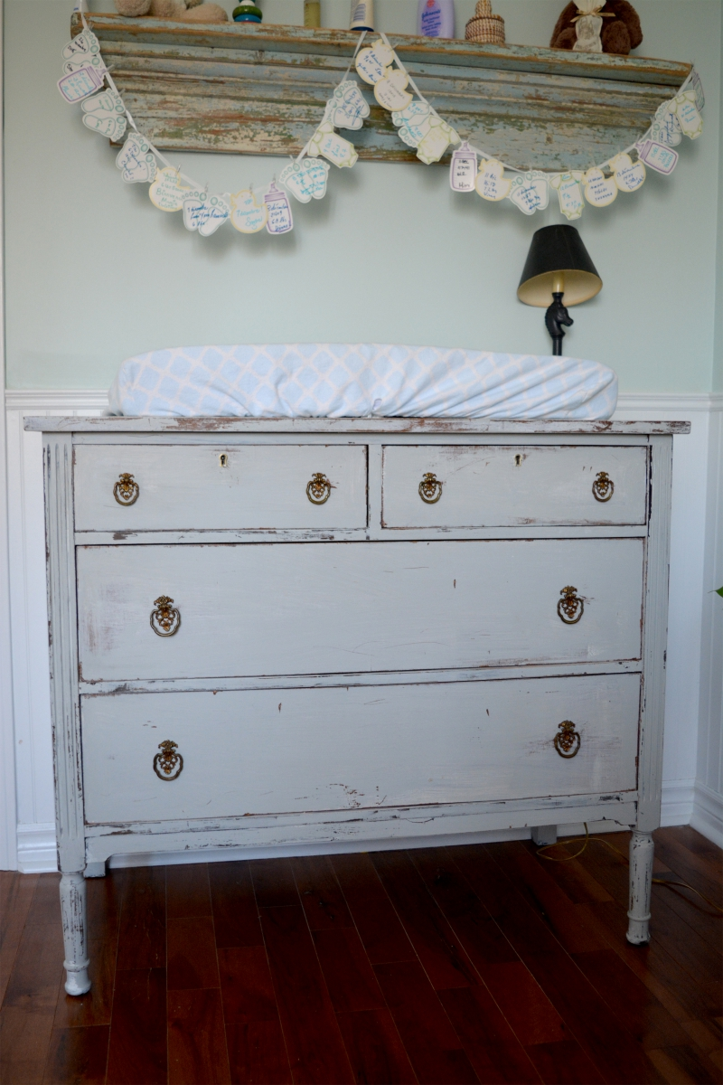Convenient or changing table shabby chic gray and wood