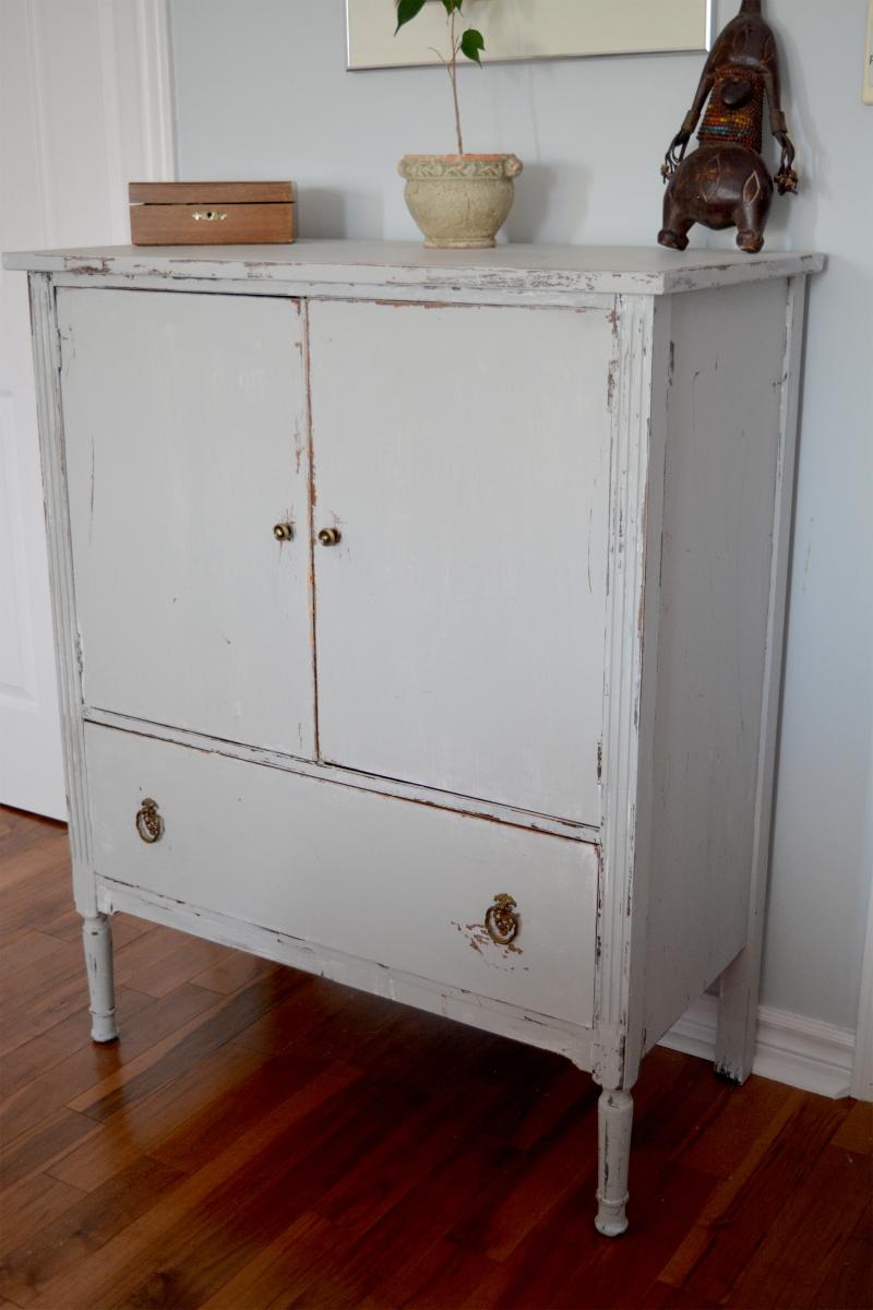commode en bois shabby chic gris blanc us233e