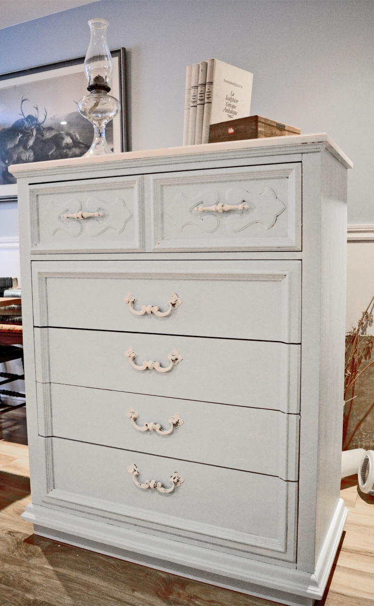 commode 5 tiroirs shabby chic turquoise cr me. Black Bedroom Furniture Sets. Home Design Ideas