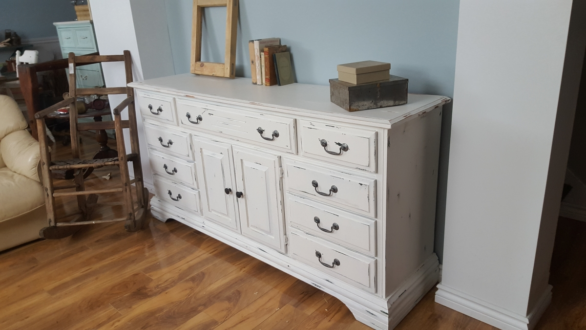 Tv Console Media Shabby Chic Dresser Drawers Doors # Meuble Tv Chic