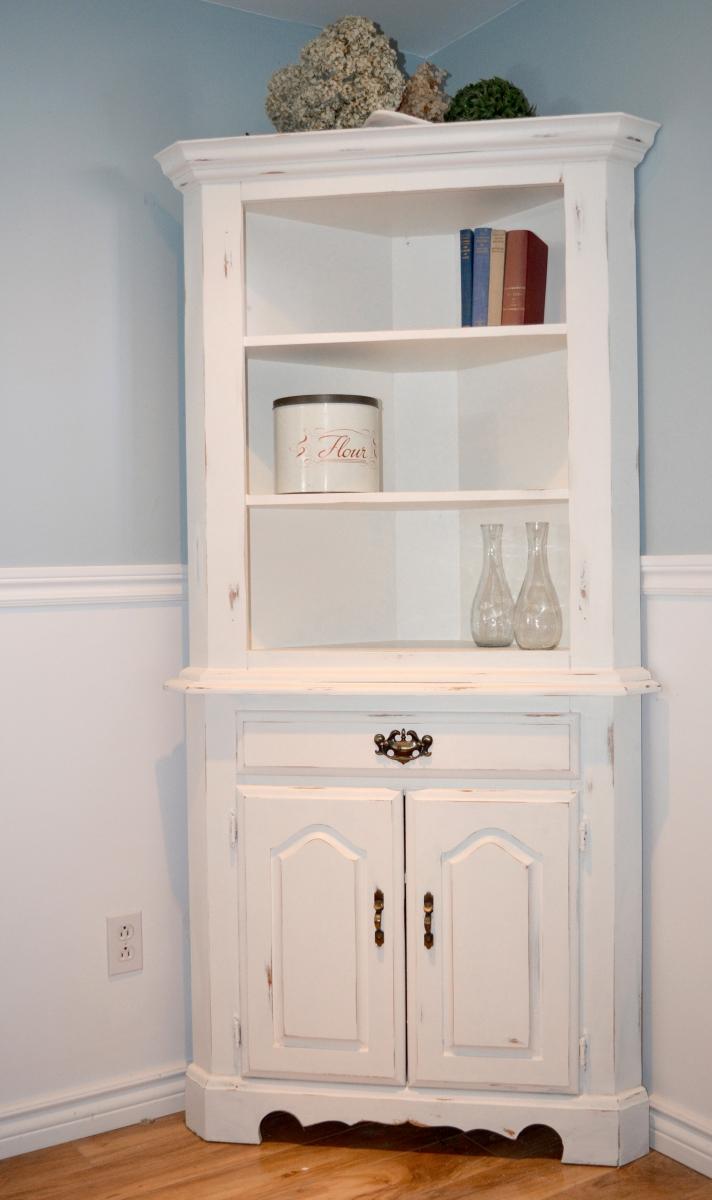 Encoignure meuble en coin shabby chic rustique for Meuble salle de bain en coin