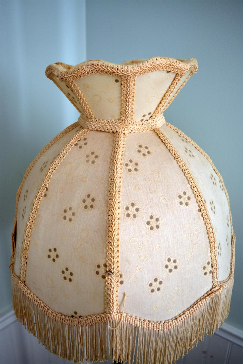 Lampe sur pied antique vintage en laiton brass abatjour - Lampe sur pied vintage ...