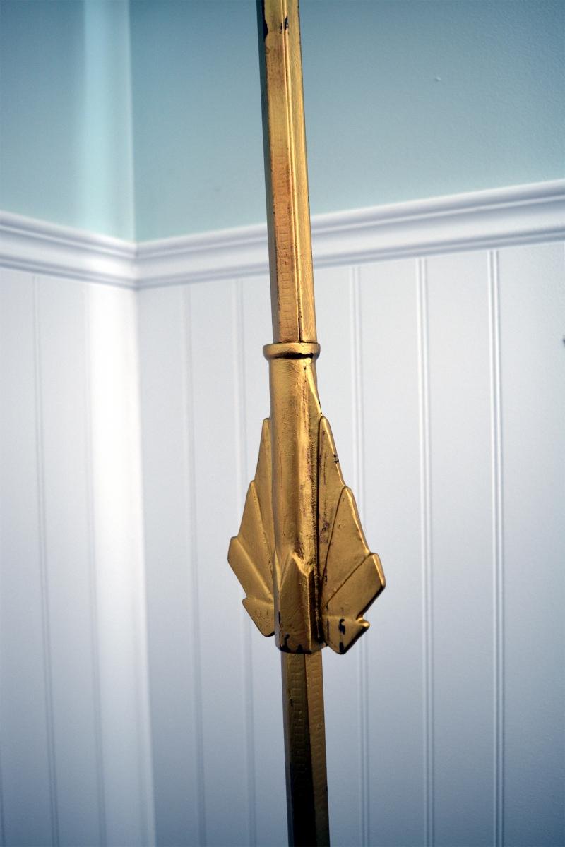 lampe sur pied antique vintage en laiton brass abat jour beige2 - Abat Jour Color