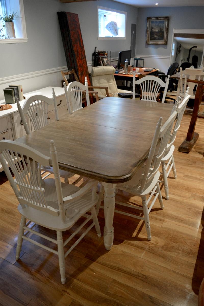Table crème, blanc cassé dessus bois shabby rustique chic5