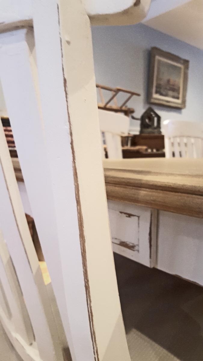Table crème, blanc cassé dessus bois shabby rustique chic3