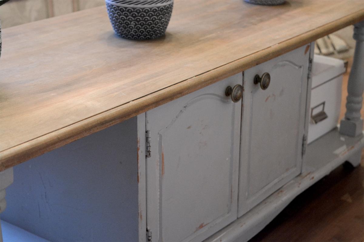 Table de salon shabby chic grise dessus bois3