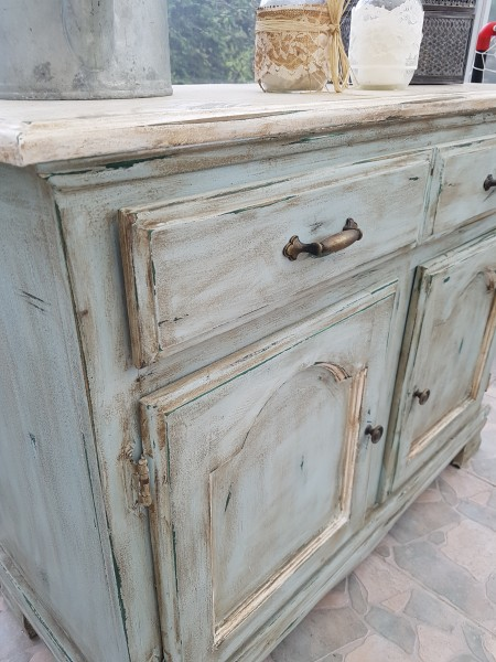 Buffet bas turquoise, blanc rustique chic