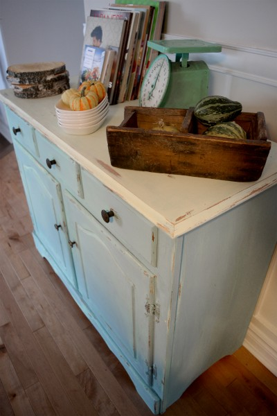 Buffet turquoise et beige style shabby rustique chic3