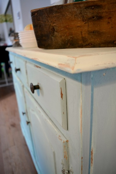 Buffet turquoise et beige style shabby rustique chic5