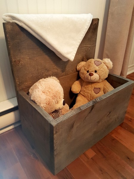 Boîte à bois ou coffre rangement, style grange
