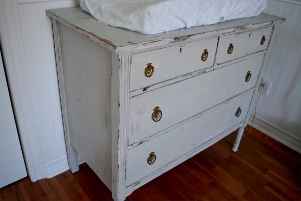 Commode ou table à langer shabby chic gris et bois2