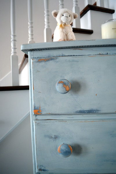 Commode antique bleue style shabby rustic chic 5 tiroirs3