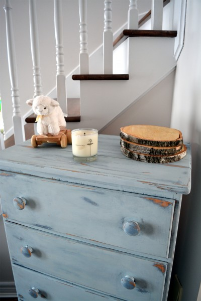 Commode antique bleue style shabby rustic chic 5 tiroirs4