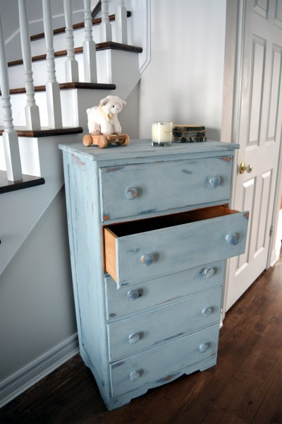 Commode antique bleue style shabby rustic chic 5 tiroirs5
