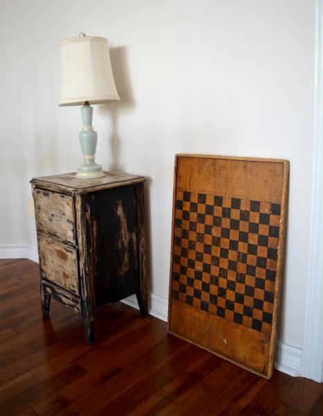 Damier antique bois à carreaux noir2