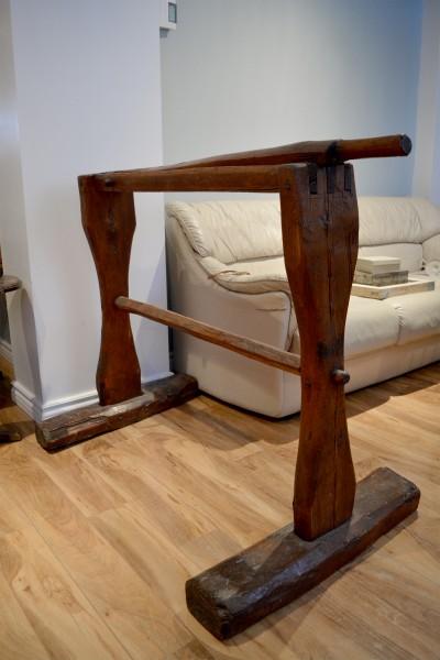 Écrase lin antique, teilleuse support à serviette en bois 3