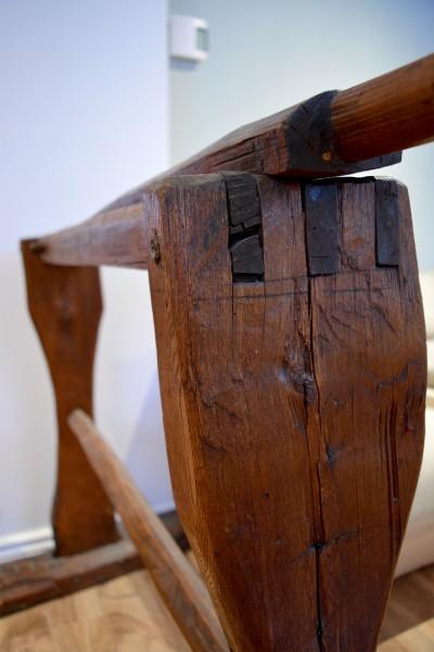 Écrase lin antique, teilleuse support à serviette en bois