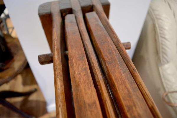 Écrase lin antique, teilleuse support à serviette en bois 4