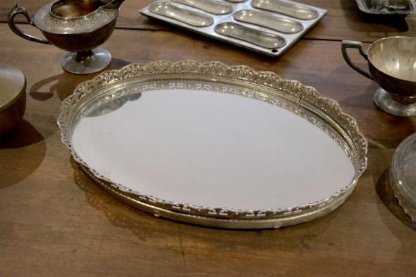 Plateau en métal argent avec fond en miroir3