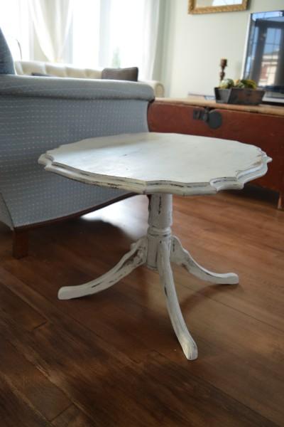 Table à café shabby chic blanc gris et bois