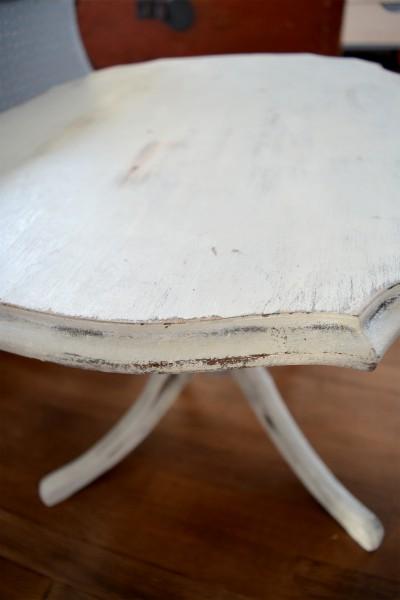 Table à café shabby chic blanc gris et bois2