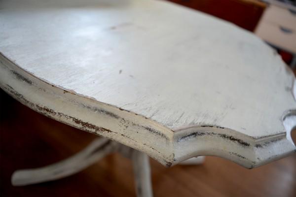 Table à café shabby chic blanc gris et bois4
