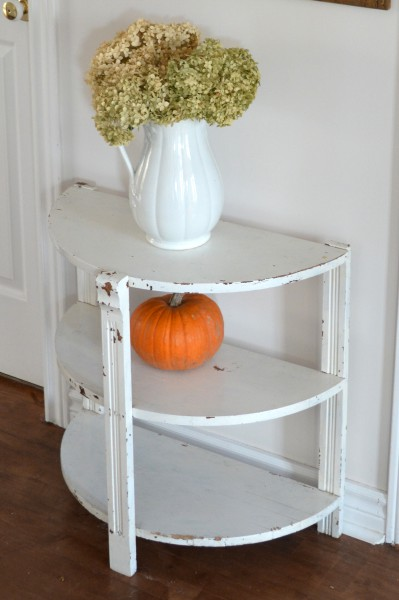 Table demi-lune blanche style shabby chic