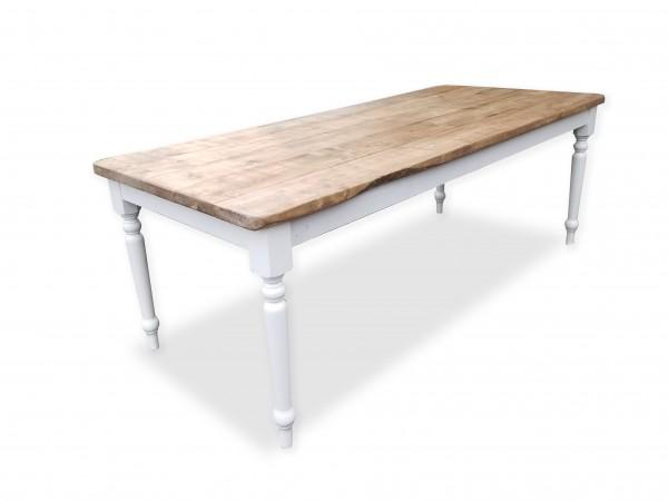 Table style farmhouse rustique chic en bois et blanc