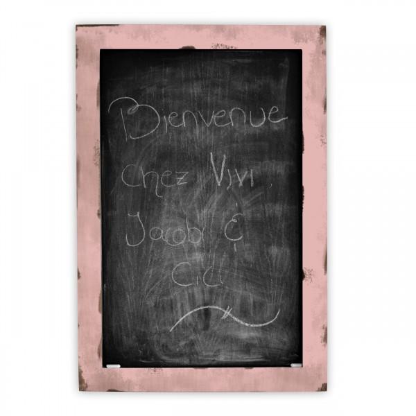 Tableau de type ardoise à craie bois teint et rose pâle