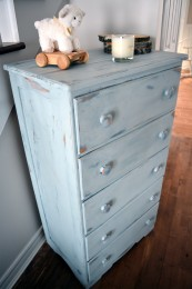 Commode antique bleue style shabby rustic chic 5 tiroirs
