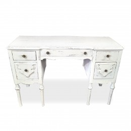 Table maquilleuse ou coiffeuse 5 tiroirs shabby chic blanc