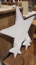 Étoiles en bois rustiques shabby chic blanc