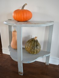Table demi-lune grise style shabby chic