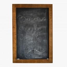 Tableau de type ardoise à craie bois teint foncé