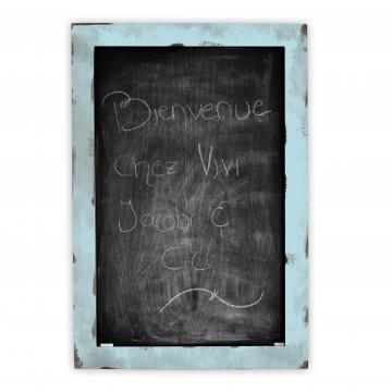 Tableau de type ardoise craie bois teint et bleu p le for Tableau craie cuisine